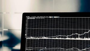 data chart on laptop
